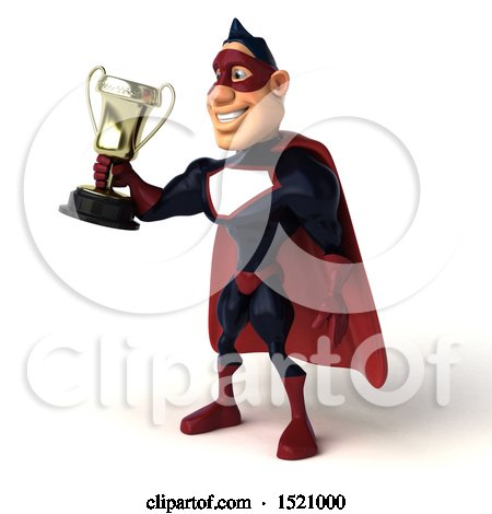 Clipart of a 3d Buff White Male Maroon Hero Holding a Trophy, on a White Background - Royalty Free Illustration by Julos