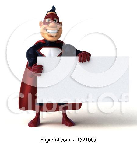 Clipart of a 3d Buff White Male Maroon Hero Holding a Sign, on a White Background - Royalty Free Illustration by Julos