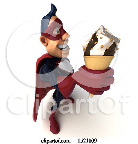 Clipart of a 3d Buff White Male Maroon Hero Holding a Waffle Cone, on a White Background - Royalty Free Illustration by Julos