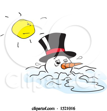 Clipart of a Mean Sun over a Melting Snowman - Royalty Free Vector Illustration by Johnny Sajem