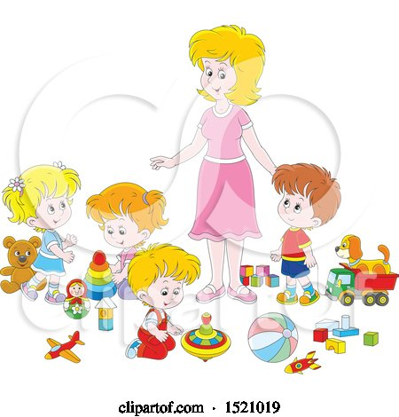 Clipart of a Caucasian Mom or Daycare Provider Supervising Playing Children - Royalty Free Vector Illustration by Alex Bannykh
