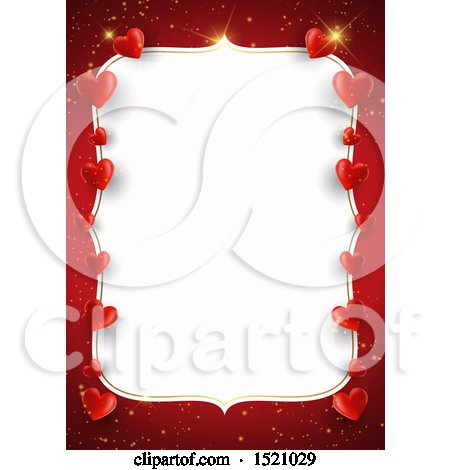 Clipart of a Valentines Day Border with Hearts on Red - Royalty Free Vector Illustration by KJ Pargeter