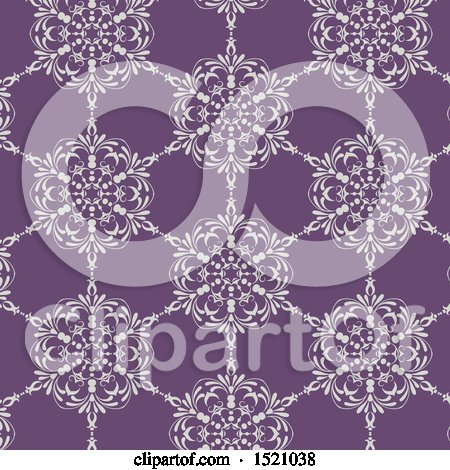 Clipart of a Seamless White and Purple Floral Pattern Background - Royalty Free Vector Illustration by KJ Pargeter