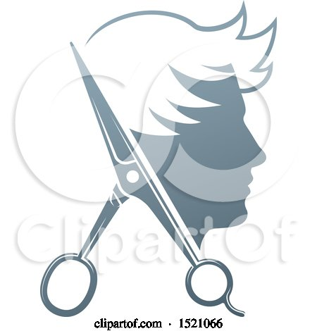 Clipart of a Male Head in Profile, with Scissors - Royalty Free Vector Illustration by AtStockIllustration