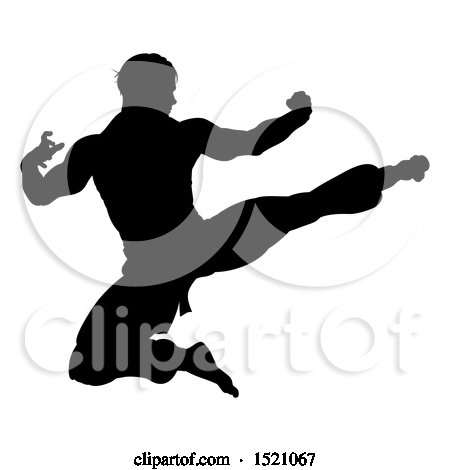 Clipart of a Silhouetted Martial Artist Kicking - Royalty Free Vector Illustration by AtStockIllustration