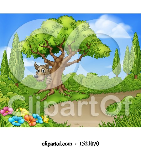Clipart of a Wolf Hiding Behind a Tree near a Path - Royalty Free Vector Illustration by AtStockIllustration