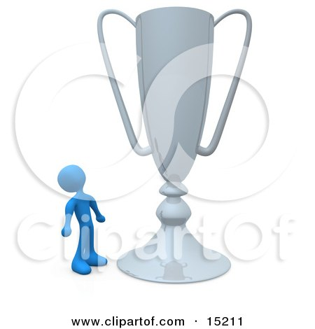 Winning Gold Athlete Person Staring Upwards In Awe At His Oversized Trophy Cup Clipart Illustration Image by 3poD