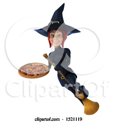 Clipart of a 3d Sexy Blue Witch Holding a Pizza, on a White Background - Royalty Free Illustration by Julos