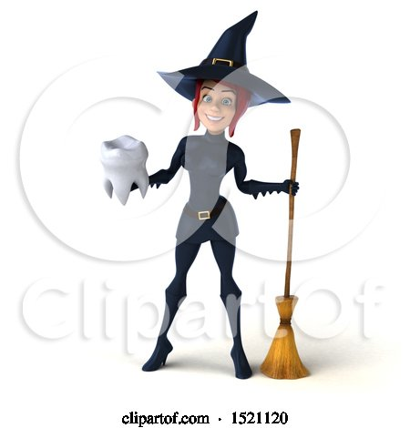 Clipart of a 3d Sexy Blue Witch Holding a Tooth, on a White Background - Royalty Free Illustration by Julos