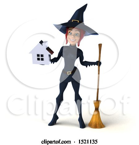 Clipart of a 3d Sexy Blue Witch Holding a House, on a White Background - Royalty Free Illustration by Julos