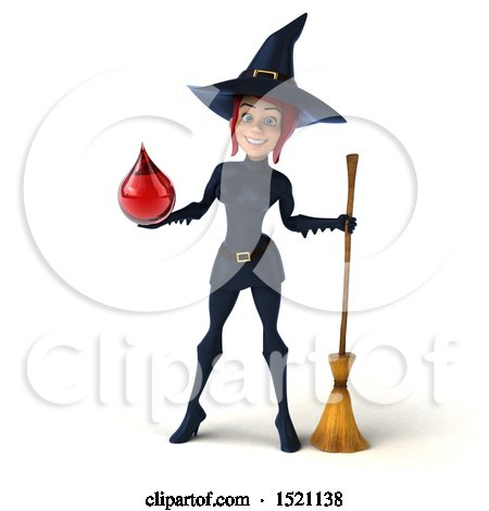 Clipart of a 3d Sexy Blue Witch Holding a Blood Drop, on a White Background - Royalty Free Illustration by Julos
