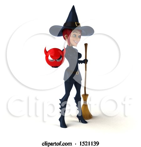 Clipart of a 3d Sexy Blue Witch Holding a Devil, on a White Background - Royalty Free Illustration by Julos