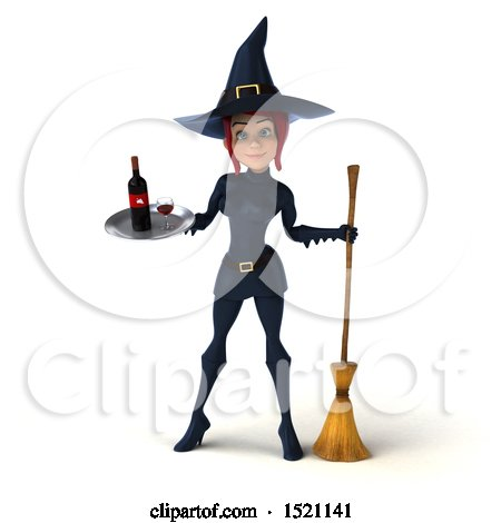 Clipart of a 3d Sexy Blue Witch Holding a Wine Tray, on a White Background - Royalty Free Illustration by Julos