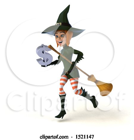 Clipart of a 3d Sexy Green Witch Holding a Dollar Sign, on a