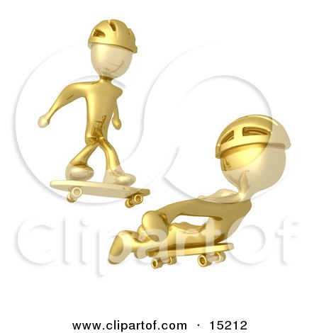 Two Gold Figures Skateboarding And Wearing Helmets  Posters, Art Prints
