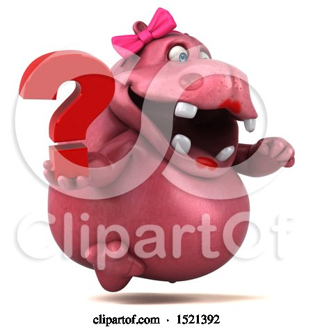 Clipart of a 3d Pink Henrietta Hippo Holding a Question Mark, on a White Background - Royalty Free Illustration by Julos