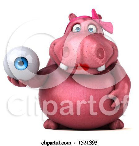 Clipart of a 3d Pink Henrietta Hippo Holding an Eye, on a White Background - Royalty Free Illustration by Julos
