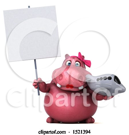 Clipart of a 3d Pink Henrietta Hippo Holding a Plane, on a White Background - Royalty Free Illustration by Julos