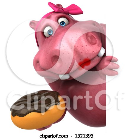 Clipart of a 3d Pink Henrietta Hippo Holding a Donut, on a White Background - Royalty Free Illustration by Julos