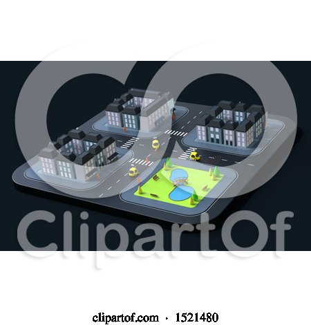 Clipart of a 3d City Road Intersection with Cars - Royalty Free Illustration by Julos