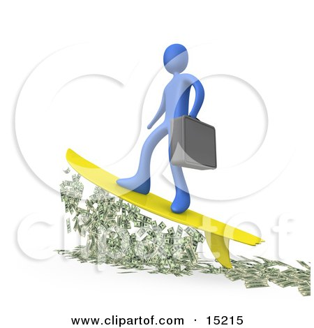 Successful Blue Businessman Person Carrying A Briefcase And Standing Proud On A Yellow Surfboard While Surfing On Money  Posters, Art Prints