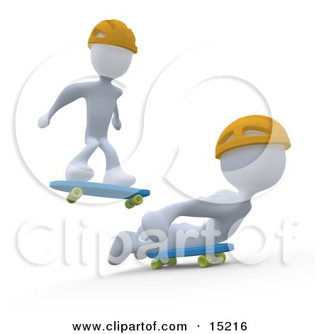 Two White Figures Skateboarding And Wearing Yellow Helmets Clipart Illustration Image by 3poD
