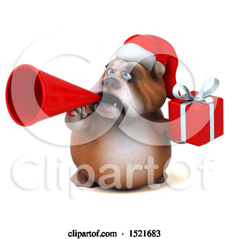 Clipart of a 3d Christmas Bulldog Holding a Gift, on a White Background - Royalty Free Illustration by Julos