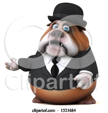 Clipart of a 3d Gentleman or Business Bulldog Presenting, on a White Background - Royalty Free Illustration by Julos
