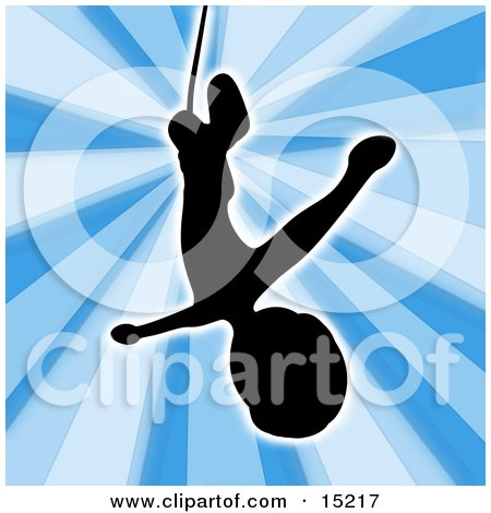 Silhouetted Bungee Jumper Falling While Bungee Jumping Clipart Illustration Image by 3poD