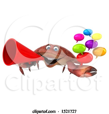 Clipart of a 3d Crab Holding Messages, on a White Background - Royalty Free Illustration by Julos