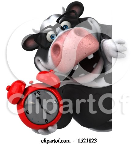 Clipart of a 3d Business Holstein Cow Holding an Alarm Clock, on a White Background - Royalty Free Illustration by Julos
