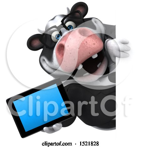 Clipart of a 3d Business Holstein Cow Holding a Tablet, on a White Background - Royalty Free Illustration by Julos