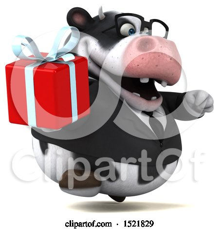 Clipart of a 3d Business Holstein Cow Holding a Gift, on a White Background - Royalty Free Illustration by Julos