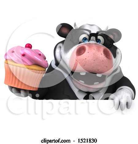 Clipart of a 3d Business Holstein Cow Holding a Cupcake, on a White Background - Royalty Free Illustration by Julos