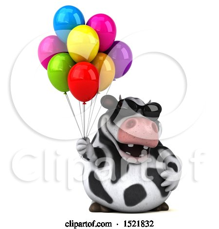 Clipart of a 3d Holstein Cow Holding Balloons, on a White Background - Royalty Free Illustration by Julos