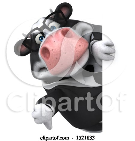 Clipart of a 3d Business Holstein Cow Holding a Thumb Down, on a White Background - Royalty Free Illustration by Julos