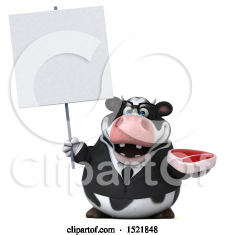 Clipart of a 3d Business Holstein Cow Holding a Steak, on a White Background - Royalty Free Illustration by Julos