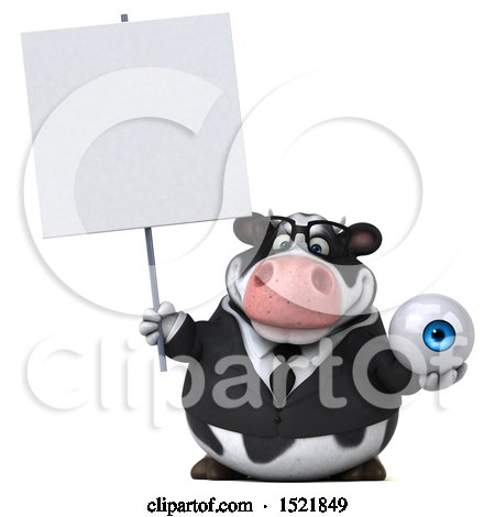 Clipart of a 3d Business Holstein Cow Holding an Eye, on a White Background - Royalty Free Illustration by Julos