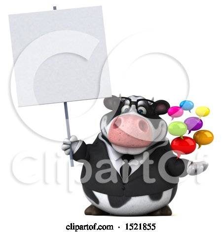 Clipart of a 3d Business Holstein Cow Holding Messages, on a White Background - Royalty Free Illustration by Julos