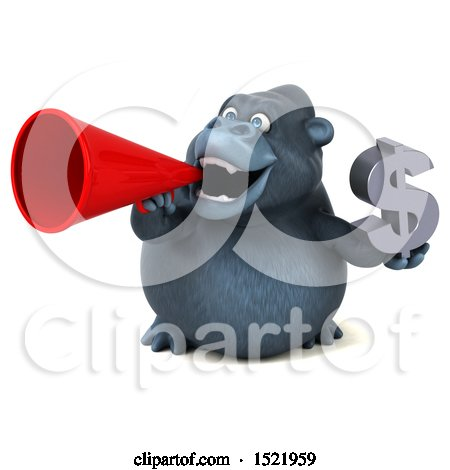 Clipart of a 3d Gorilla Holding a Dollar Sign, on a White Background - Royalty Free Illustration by Julos