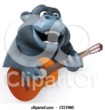 Clipart of a 3d Gorilla Holding a Guitar, on a White Background - Royalty Free Illustration by Julos