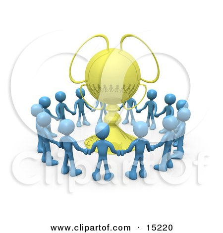 Winning Team Of Blue Figures Holding Hands And Standing In A Circle Around Their Golden Championship Trophy Clipart Illustration Image by 3poD