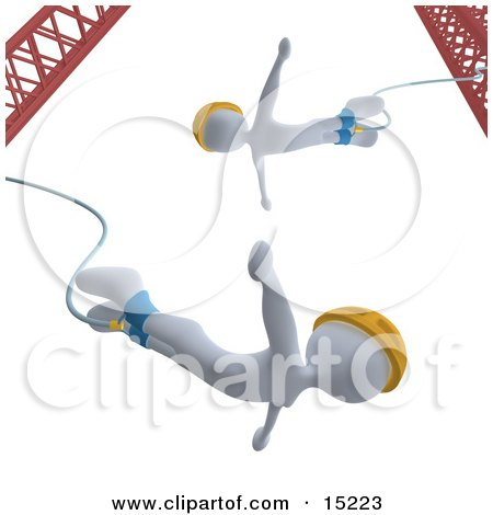 White Bungee Jumpers In Yellow Helmets, Falling While Bungee Jumping From a Crane  Posters, Art Prints