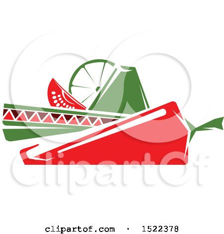 Clipart of a Mexican Sombrero Hat with a Chile Pepper, Lime and Tomato Wedge - Royalty Free Vector Illustration by Vector Tradition SM