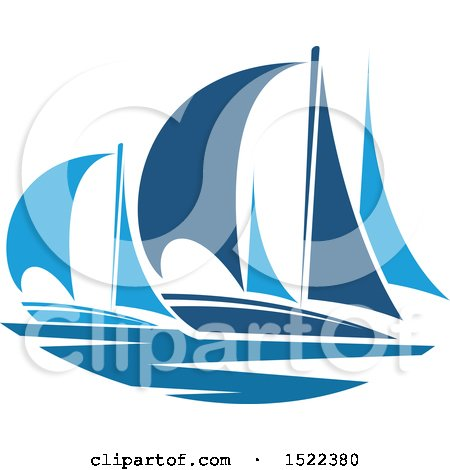 Clipart of Blue Yachts - Royalty Free Vector Illustration by Vector Tradition SM