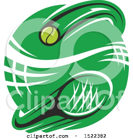 Clipart of a Green Circle with a Tennis Net, Ball and Racket - Royalty Free Vector Illustration by Vector Tradition SM