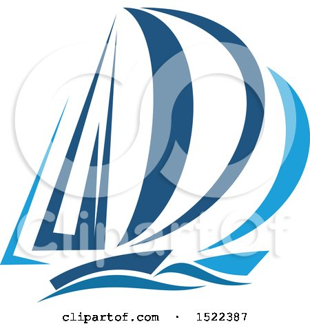 Clipart of a Two Toned Blue Yacht - Royalty Free Vector Illustration by Vector Tradition SM