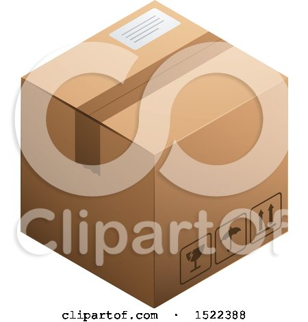 Clipart of a 3d Cardboard Box - Royalty Free Vector Illustration by beboy