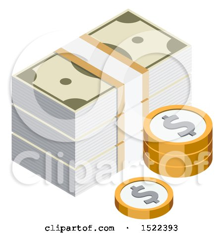 Clipart of a 3d Isometric Money Icon - Royalty Free Vector Illustration by beboy