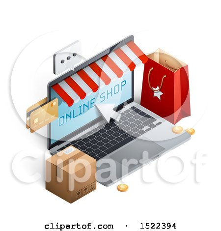 Clipart of a 3d Online Shop Laptop Computer with a Bag, Credit Cards and Box - Royalty Free Vector Illustration by beboy